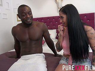 BBC fucks smoking hot white girlfriend Kimmie Foxx and cums on her boobs