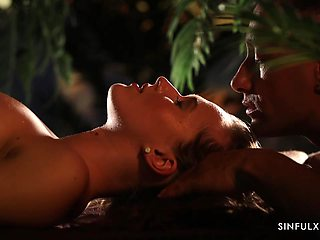 Fruits on the naked body or passionate sex by candlelight