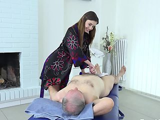 Old and young porn action right on the massage table