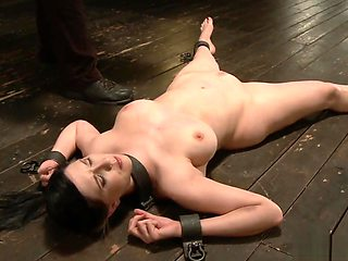 Busty bound slave whipped and caned