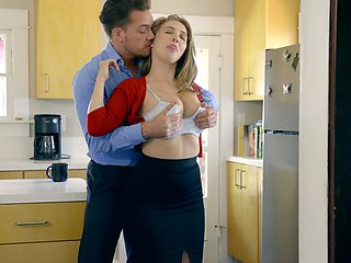 Husband enjoys fucking big natural boobs and licks pussy of Lena Paul
