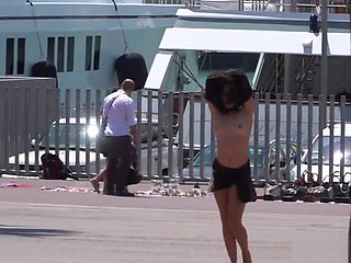 Petite Euro slave disgraced on the dock