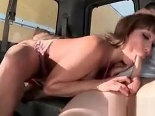 Bitchy mature nympho giving hot blowjob in the sex bus