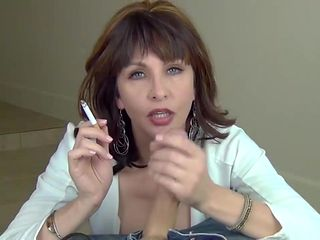 naughty teasing Mom gives a smoking blowjob