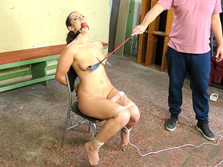 Struggling Laura Begs Master to Stop