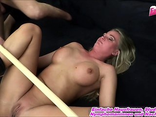German sumissive big tits housewife threesome