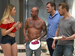 Wild bitch Selvaggia goes crazy during hardcore gang bang with wild studs