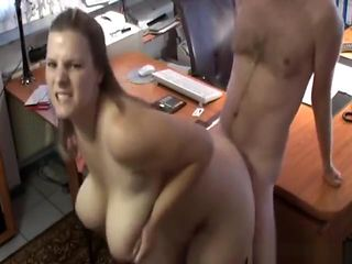 Babe with massive tits bends over for my engorged boner