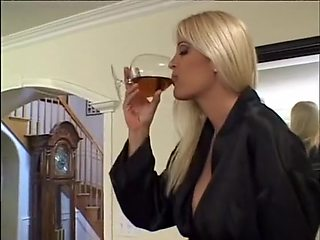 Beautiful blonde femdom strap and then gets anal sex by an old man