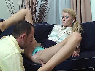 Blonde slut wakes up her lover for a quick sex in the afternoon