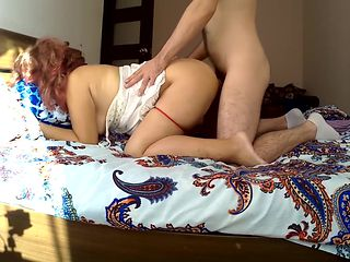 Anal sex stepmom and son. Mom with a big ass loves her son's tight dick