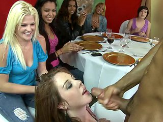 Girls dining on stripper dick at a party with lots of wild play