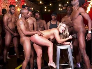 Bartender Bitch Interracial Gangbang