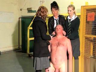 3 schoolgirls humiliate older dude