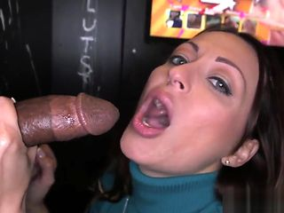 Gloryhole beauty wanks two cocks till facial