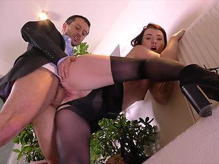 Black Stockings Secretary MISHA CROSS Hard Fucking