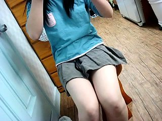 Provocative amateur teen in white panties touches herself