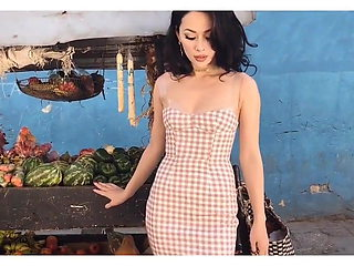 Stunning Asian Beauty Queen In Sexy Vintage Dress