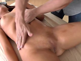 For massage excited hottie rewards man with blowjob and not only