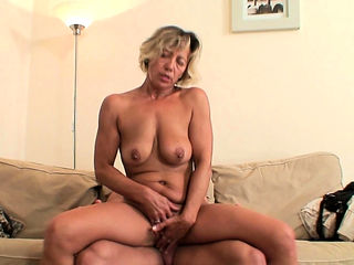 Hot blonde mother-in-law rides boy's cheating cock
