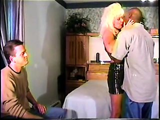 Stacked blonde milf cuckolds her husband with a black bull