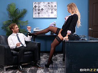 Busty office secretary Alison Avery gets her pretty face covered in cum