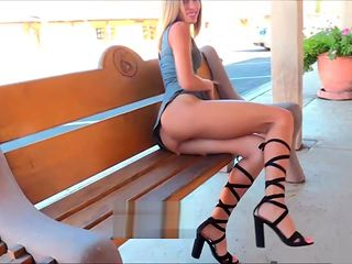 Amateur Averie flashing shaved pussy upskirt in public