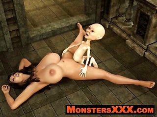 Horrible 3d Creatures fucking innocent chicks