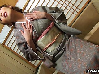 Asian hooker Aya Kisaki puts on kimono and masturbates pussy in front of her client