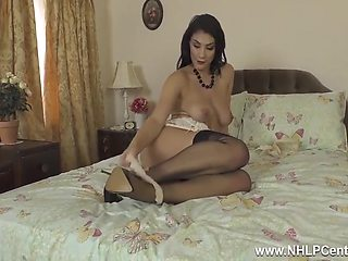 Roxy Mendez Strips Off And Wanks In Black Nylons And High Heels