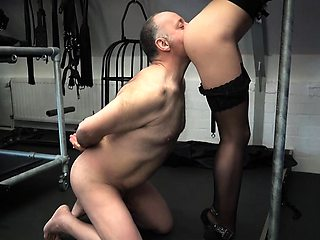 Young imposing mistress ties oldman and plays him nasty