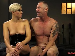 Blonde mistress strapon fucking a tied man