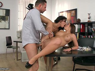 Nasty office threesome with two horny ladies in heels