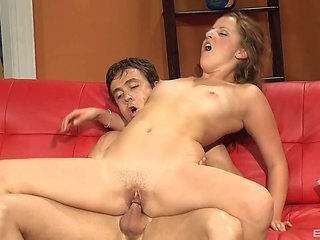 The guy makes sure to cum in her mouth after this fuck