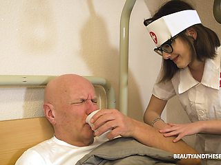 Pretty nurse gives a lucky old man an amazing blowjob