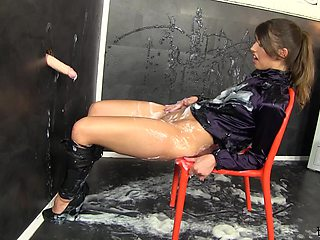 Solo model Susan Ayn sucks and rides a large fake dick for a cumshot