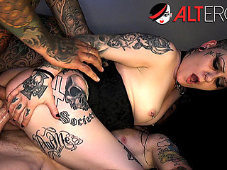Tattooed slut Mallory Maneater takes on two dicks