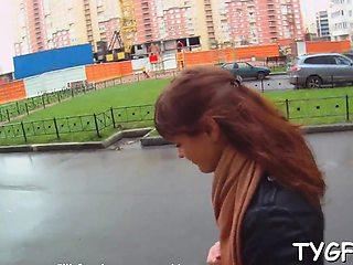 Pungent brunette russian Christi enjoys a wet session