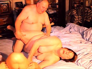 Horny old friends enjoying an intense threesome on the bed