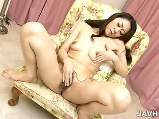 Naughty Ruri Hayami strips and toys her pretty pussy