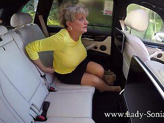 Lady Sonia masturbates while driving around town