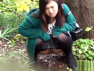 Asian babes publicly piss