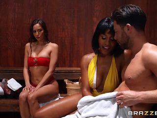 interracial mff threesome in the sauna