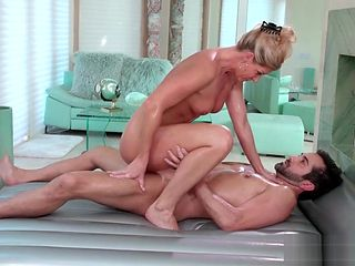 Sensual wet mature masseuse India Summer suck big cock in the 69 sex massage session