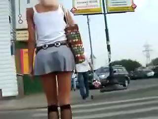 Sexy Cheerleader Upskirt Pussy Tease Video