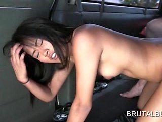 Slutty amateur fucked doggy on the bus floor