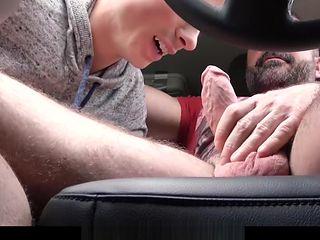 FamilyDick - Muscle bear dad fucks boy in car for smoking