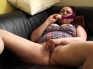 Throatfucked chubby English redhead gets kinky