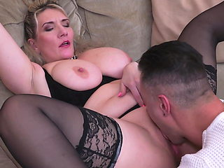 Busty natural mother fucks lucky guy