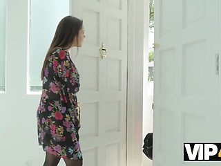 VIP4K. Housewife wants the black plumber to fuck her right in the kitchen